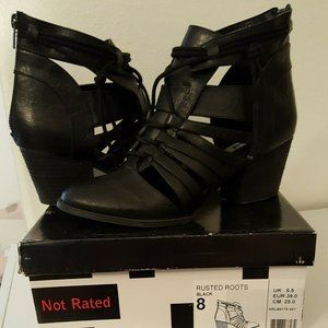 Not Rated Rusted Roots Black Strappy Booties 8